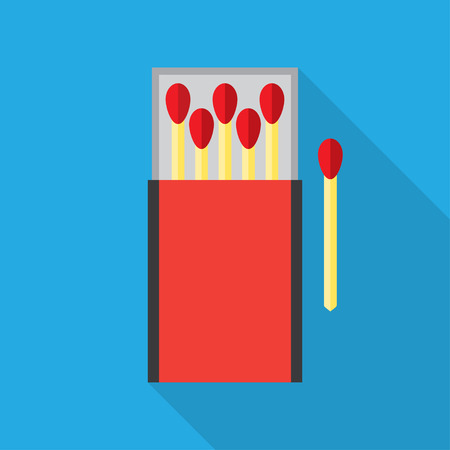 matchbox: matchbox and matches vector illustration. Flat icon isolated with long shadow. Illustration