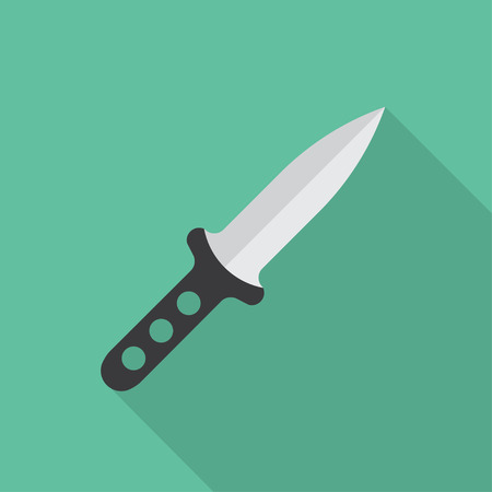 throwing: Throwing knife vector illustration. Flat icon isolated with long shadow.