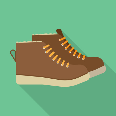 athleticism: winter boots flat icon. vector illustration. Flat icon isolated with long shadow.