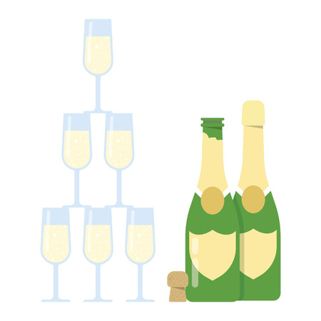 Champagne Glasses Pyramid tower on a white backgroundVector Illustration Stock Illustratie