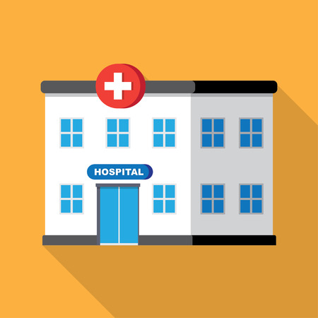 sick malady: hospital building or clinic, medical icon. Flat design vector with long shadow Illustration