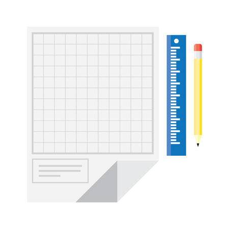 technical drawing: Technical drawing with yellow ruler and pencil