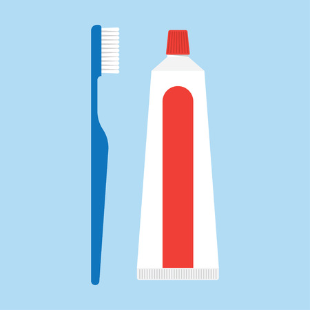 bathroom cartoon: toothpaste and tooth brushes vector illustration. toothpaste and tooth brushes isolated on blue background. toothpaste and tooth brushes vector icon illustration.