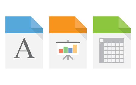 doc: File document icons. XLS DOC presentation file symbols. Vector Illustration