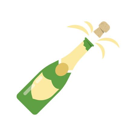 Illustratie van de explosie van de fles champagne kurk