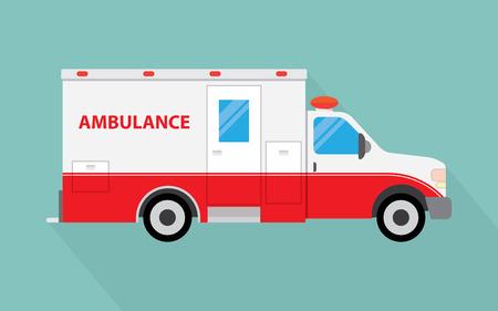 Krankenwagen Schatten langen, flachen Design-Ikone. Vektor-Illustration.