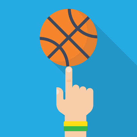 nba: Athlete basketball player spinning the ball on his finger. Vector illustration, flat design style. Sports concept. Basketball ball in hand Illustration