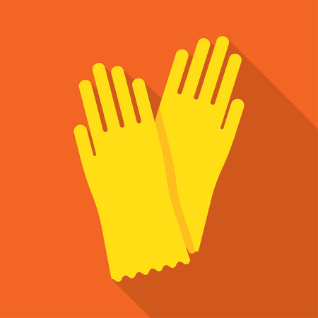 rubber glove: Yellow glove for hygiene cleaning and yellow rubber glove wash work protection. Rubber yellow gloves cartoon flat icon vector illustration. Illustration