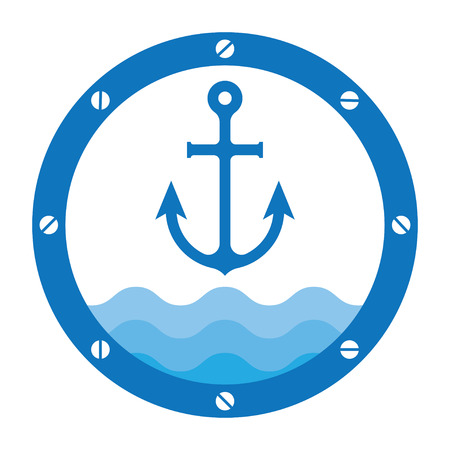 anchored: anchor in porthole on the waves vector illustration background