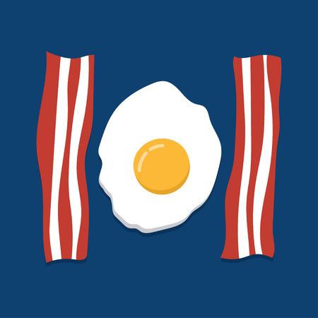 bacon: Eggs and bacon. delicious fried eggs and slices of crisp bacon