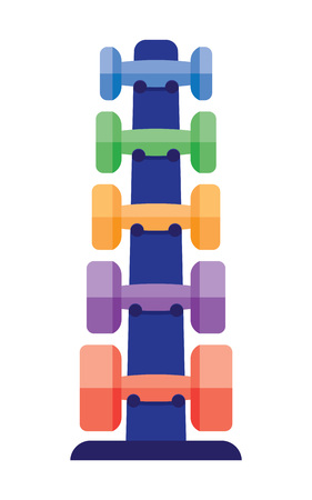 heavy metal: Dumbbells stack lined up. Rack with metal dumbbells stack vector. Stand with dumbbells stack in a gym center as indoor workout activity. Dumbbells stack heavy equipment gym health workout.