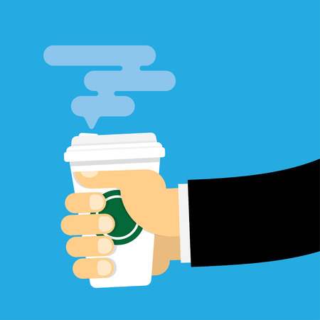 good break: Hand holds a paper cup of hot drink. Coffee take away concept. Template for your text. Isolated vector illustration flat design. Illustration