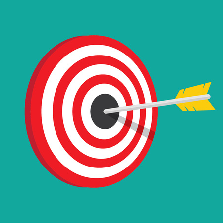 winning idea: Target with arrow in the bullseye. Vintage style vector illustration. Idea Competition winning, Achievement, Victory and Business Success. Enjoy Illustration
