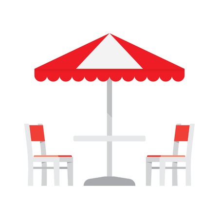cafe table: Cafe table and chairs under an sunshade. Umbrella and furniture isolated on white background. Vector illustration