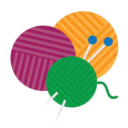 ball of yarn and knitting needles isolated. vector illustration Vektoros illusztráció