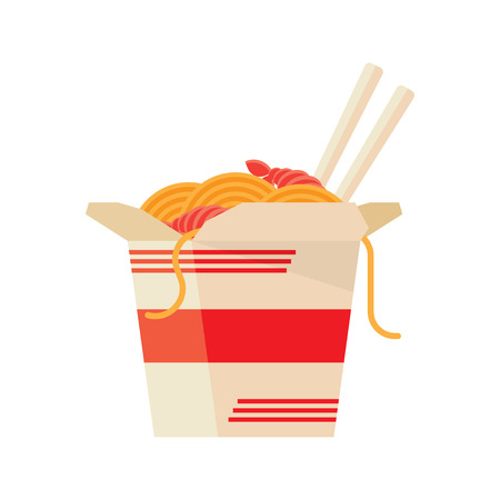 chop sticks: wok noodles icon on a white background. flat style vector illustration Illustration