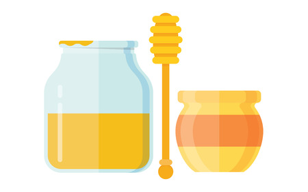 curative: Glass jar of honey with wooden drizzler isolated on white background sweet food vector. Yellow honey jar and glass honey jar. Natural delicious healthy honey jar. Healthy nutrition golden honey.