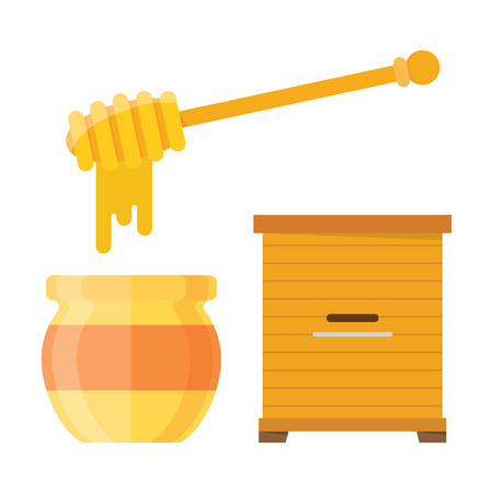 drizzler: Glass jar of honey with wooden drizzler, isolated on white background sweet food vector. Wooden hive apiary. Natural delicious healthy honey jar. Healthy food golden honey.