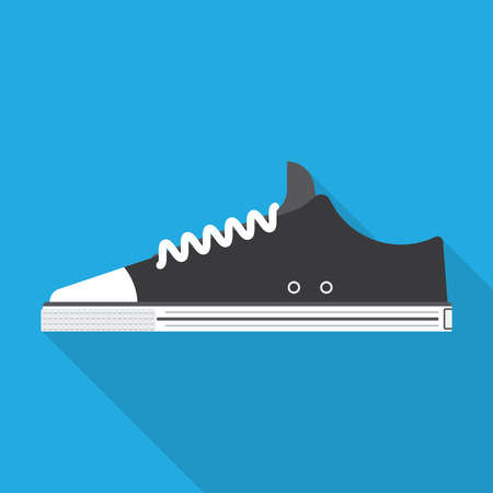 favorite colour: sports shoes illustration, black sneakers isolated on a blue background with shadow