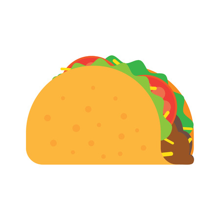 Taco vector illustration in flat style. Taco mexican food. Traditional tacos isolated from background. Taco fast food.  イラスト・ベクター素材