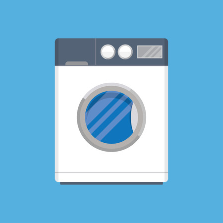 washing clothes: Flat design vector illustration of modern washing machine. Washing clothes