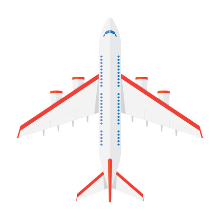 airplane icon: Airplane view from above isolated on a white background. Airplane icon in a flat style Illustration