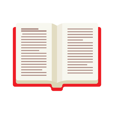 opened book: opened book with red cover illustration on White Background