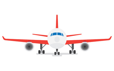 chassis: Modern Airplane isolated on white background. Passenger Airplane. Front View