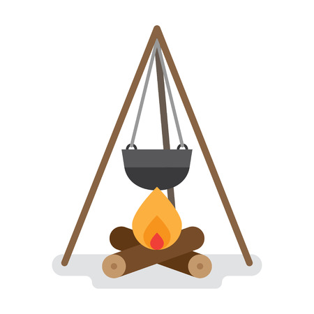 camping pot over a bonfire. Flat vector illustration isolated on white background