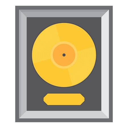 disk jockey: Golden vinyl in frame on wall, Collection disc, template design element, Vector illustration