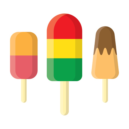 Set of ice cream icons in flat style. Ice cream on a stick. Vector illustration