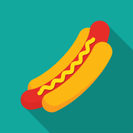 Classic american fast food Hot Dog, sausage with mustard Illustration