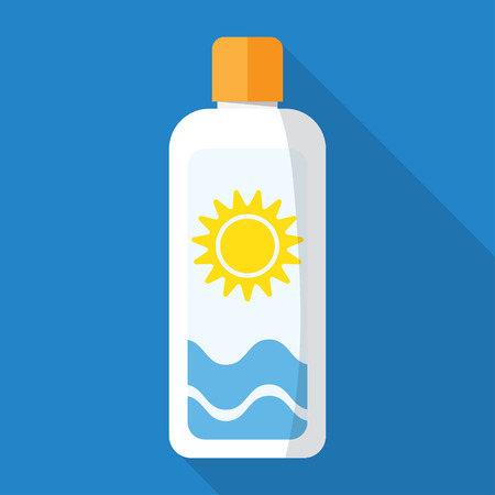 sun protection: Sunscreen Care Sun Protection Cosmetics container orange vector illustration. cream icon in flat-style isolation with long shadow.