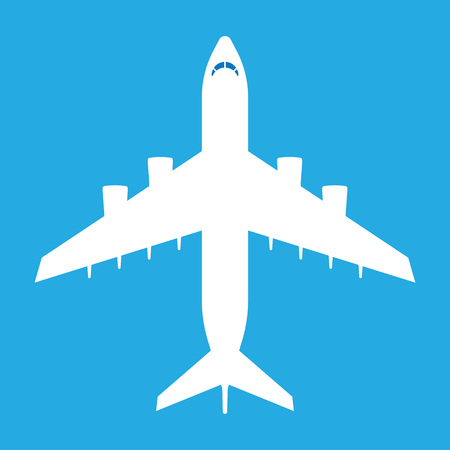Aircraft symbol. White airplane icon, on blue sky background. Vector illustration