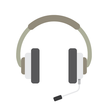 telemarketer: Headphones with microphone Icon Vector on white background Illustration