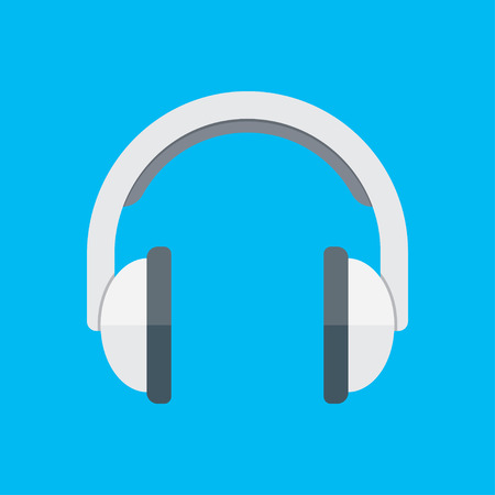 audiophile: Isometric headphones vector icon isolated on blue background.