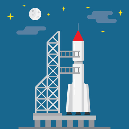 pad: Rocket ready to launch on a blue background, vector illustration Illustration