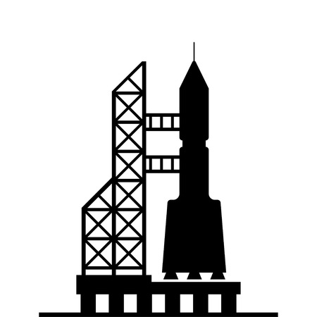 launching: silhouette rocket ready for launch vector icon on white background