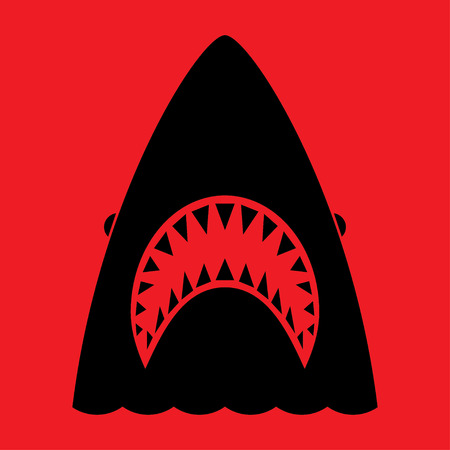 Shark with open mouth and sharp teeth. Vector illustration in flat style Vetores