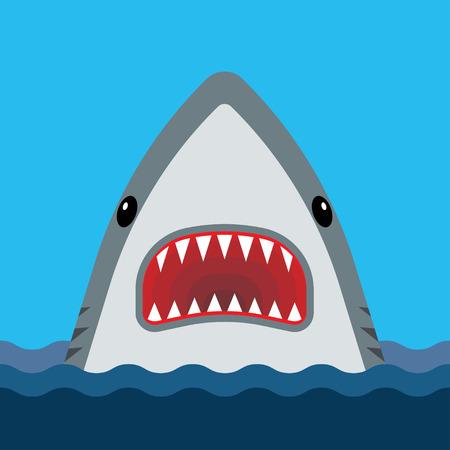 Shark avec la bouche ouverte et des dents pointues. Vector illustration dans le style plat