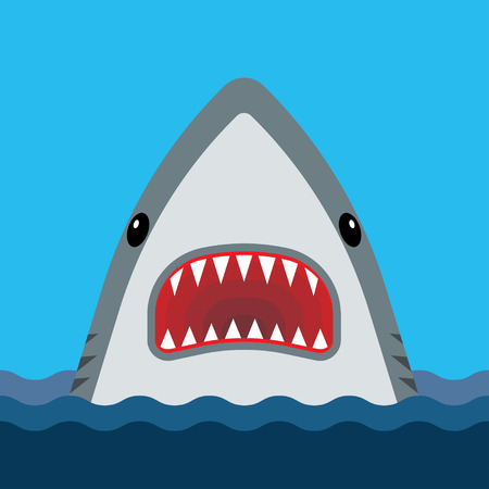 Shark with open mouth and sharp teeth. Vector illustration in flat style 向量圖像