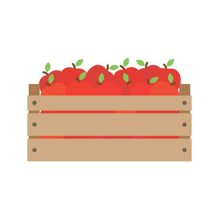 red apples: box with fresh red apples. In flat style. Vector illustration.