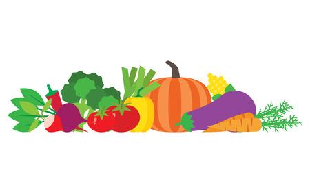 Set of fresh vegetables. Modern flat design. Vector illustration.  イラスト・ベクター素材
