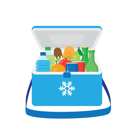 refrigerate: freezer-bag in blue color with fruits and drinks. vector illustration isolated on white background