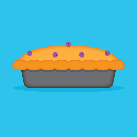 blueberry pie: blueberry pie isolated on blue background. Vector illustration.