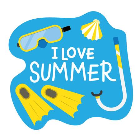 fins: Summer Diving poster. Summer vector illustration with diving mask, fins and snorkel
