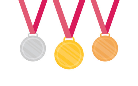 bronze medal: Gold Silver Bronze medal icon. Vector set. Isolated medal on white background Illustration