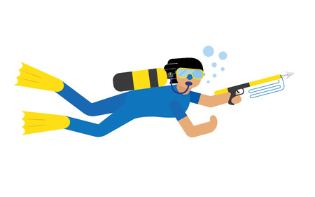 man underwater: Scuba diver isolated extreme diving sport. Cartoon diver isolated
