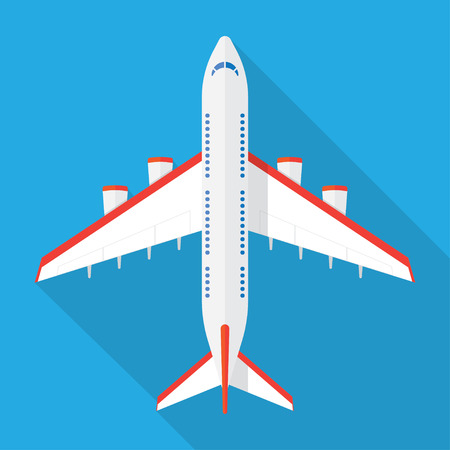 charter: Airplane view from above isolated with long shadow. Airplane icon in a flat style
