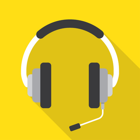 personal assistant: Headphones with microphone Icon Vector on yellow background with long shadow